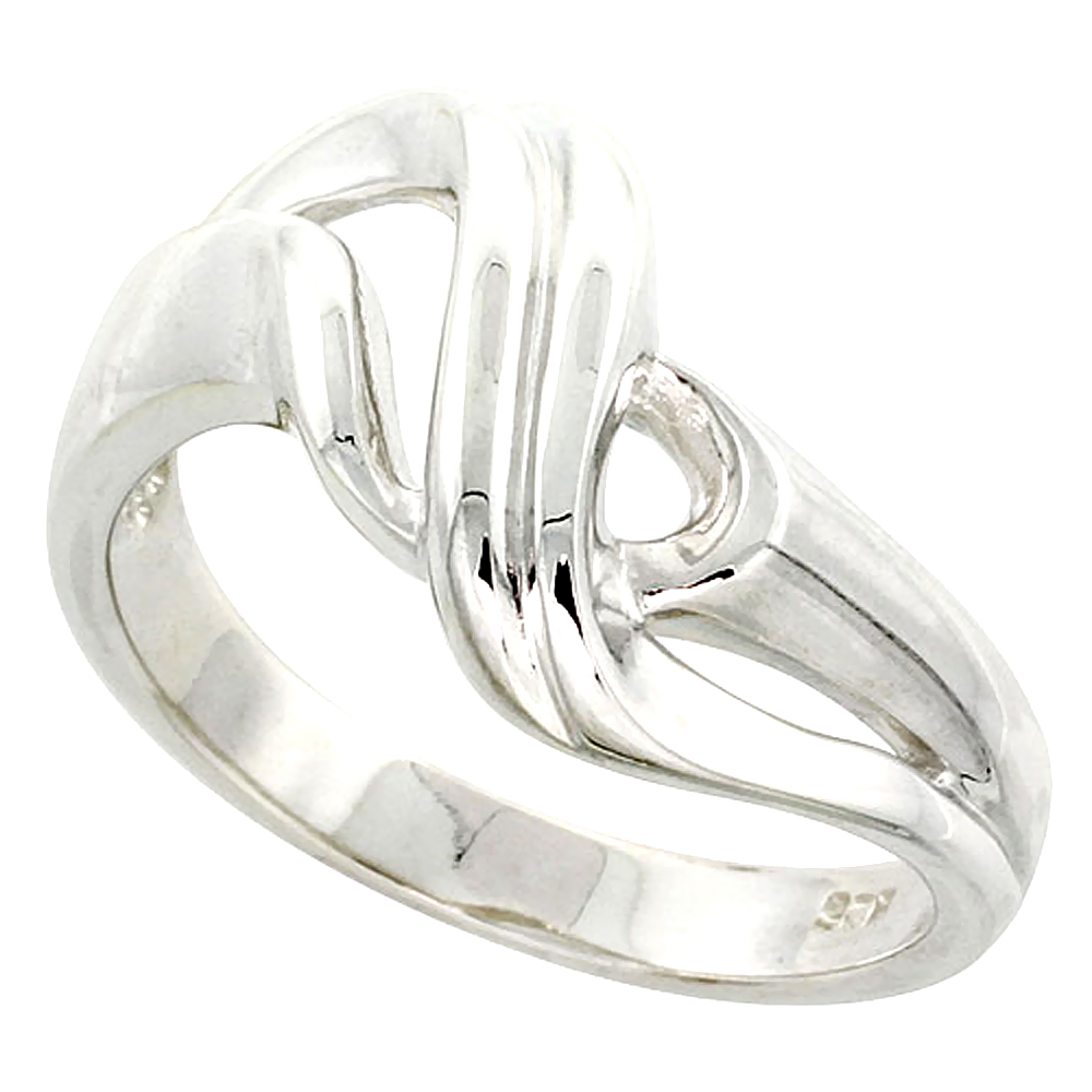 Sterling Silver Ribbon Ring Flawless finish 1/2 inch wide, sizes 6 to 10