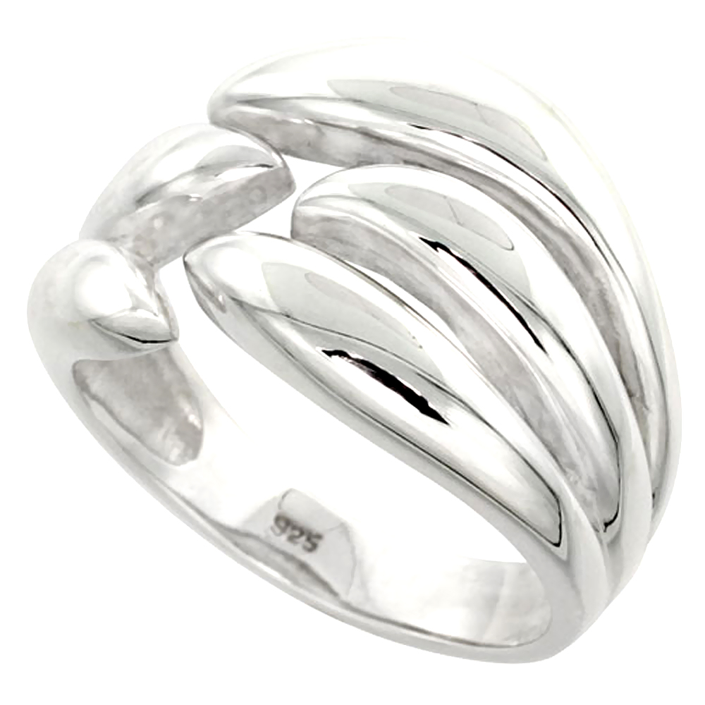 Sterling Silver Flame Ring Flawless finish 1/2 inch wide, sizes 6 to 10