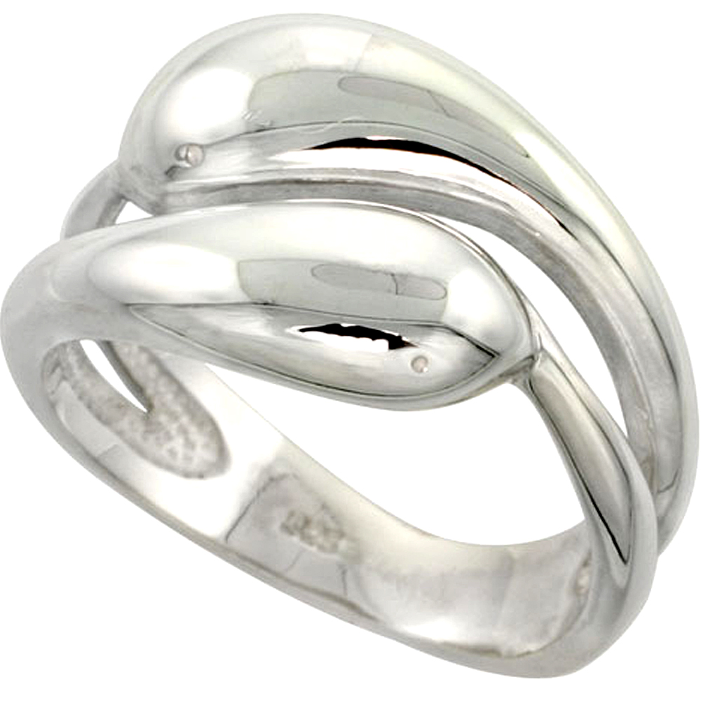 Sterling Silver Snakes Ring Flawless finish 1/2 inch wide, sizes 6 to 10