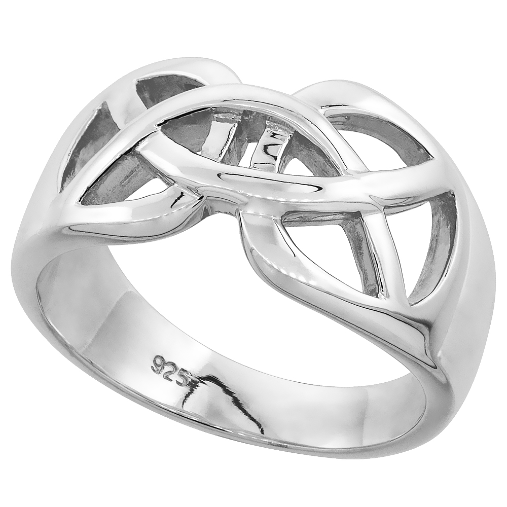 Sabrina Silver Gents Sterling Silver Celtic Knot cut-out Wedding Ring for Him and Her Flawless finish 1/2 inch wide, size 14 at Sears.com