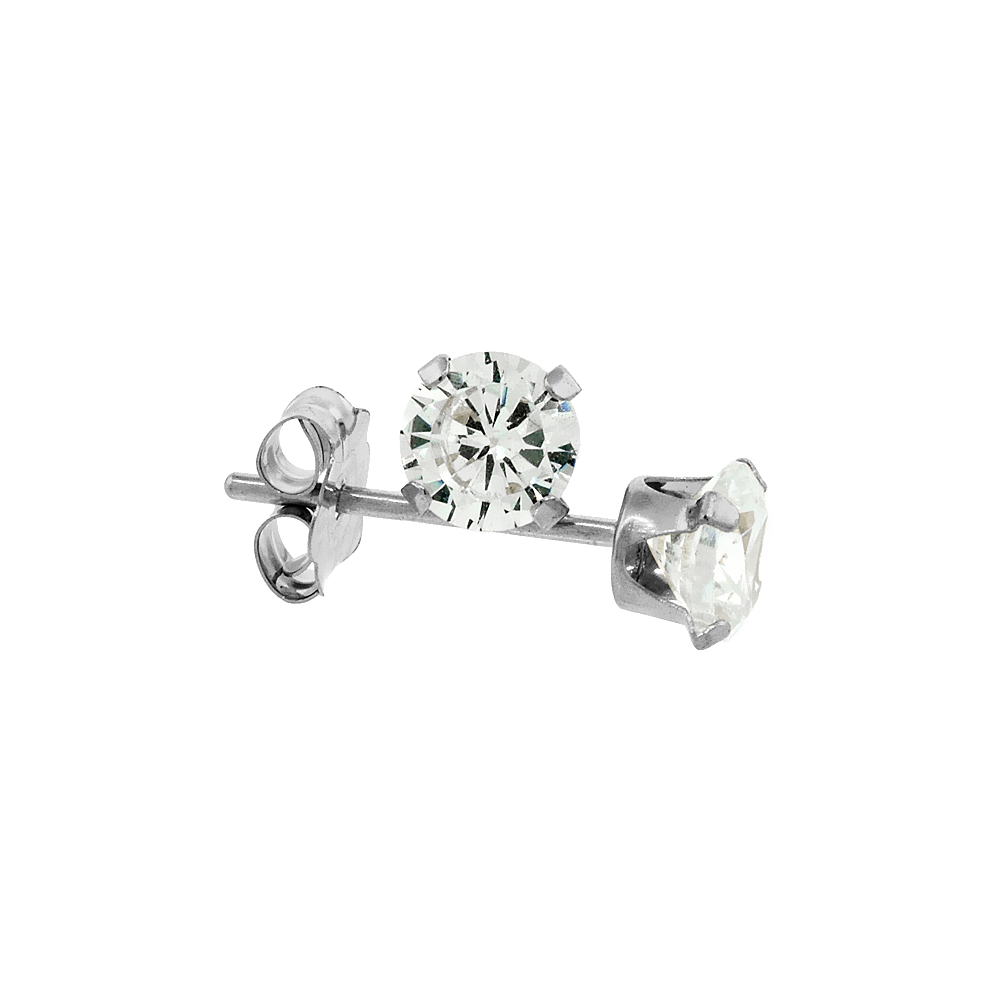 14k White Gold Cubic Zirconia Earrings Studs 4mm 4 prong 0.5 carats/pair