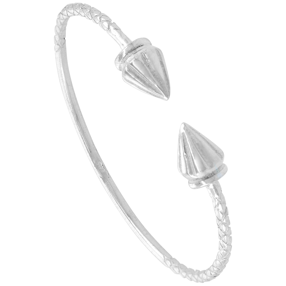 Sterling Silver West Indies Bangle Braclet Ridged Cone Baby Size, 4.5 inch