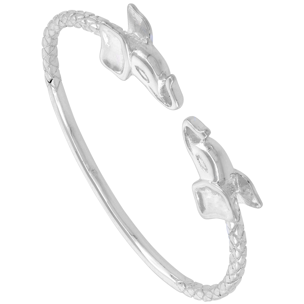 Sterling Silver West Indies Bangle Braclet Elephant Junior Size, 7 inch