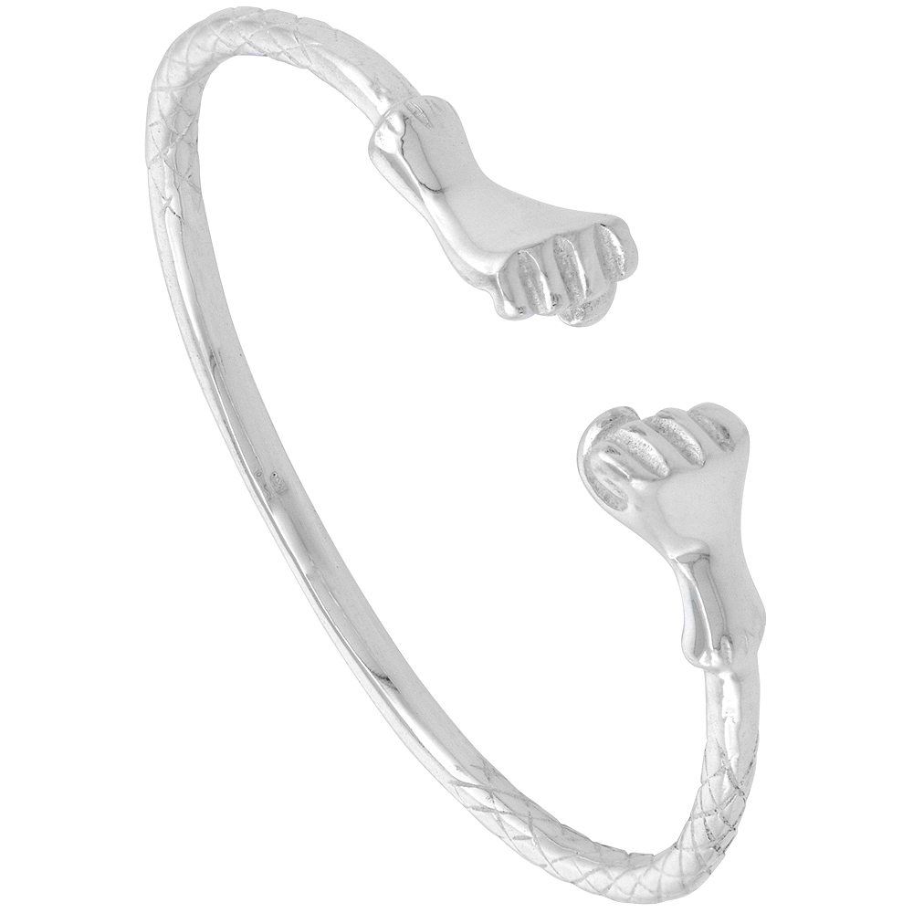 Sterling Silver West Indies Bangle Braclet Fist Junior Size, 7 inch