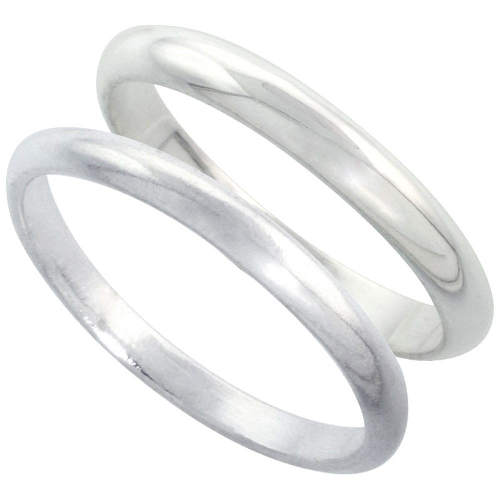 Sabrina Silver Sterling Silver High Dome Wedding Band Ring Set his and Hers 2 mm sizes 4 - 9.5 + 3 mm: sizes 4 - 13.5 at Sears.com