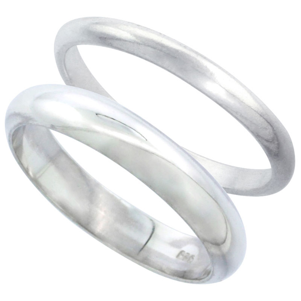 Sabrina Silver Sterling Silver High Dome Wedding Band Ring Set His and Hers 2 mm + 4 mm, size 5.5 at Sears.com