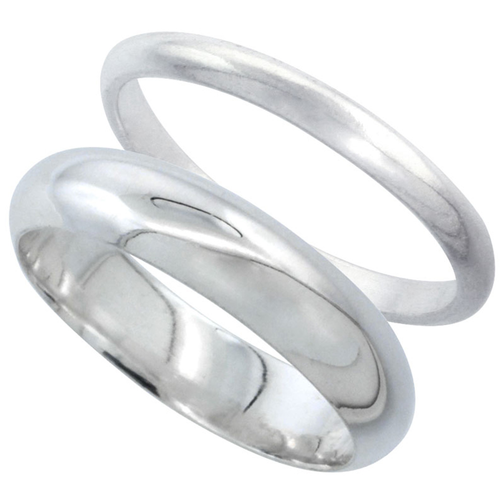 Sabrina Silver Sterling Silver High Dome Wedding Band Ring Set his and Hers 2 mm sizes 4 - 9.5 + 5 mm-sizes 4 - 13.5 at Sears.com