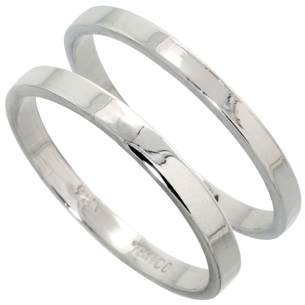 Sabrina Silver Sterling Silver Flat Wedding Band Ring Set his and Hers 2 mm sizes 4 - 9.5 + 3 mm: sizes 4 - 13.5 at Sears.com
