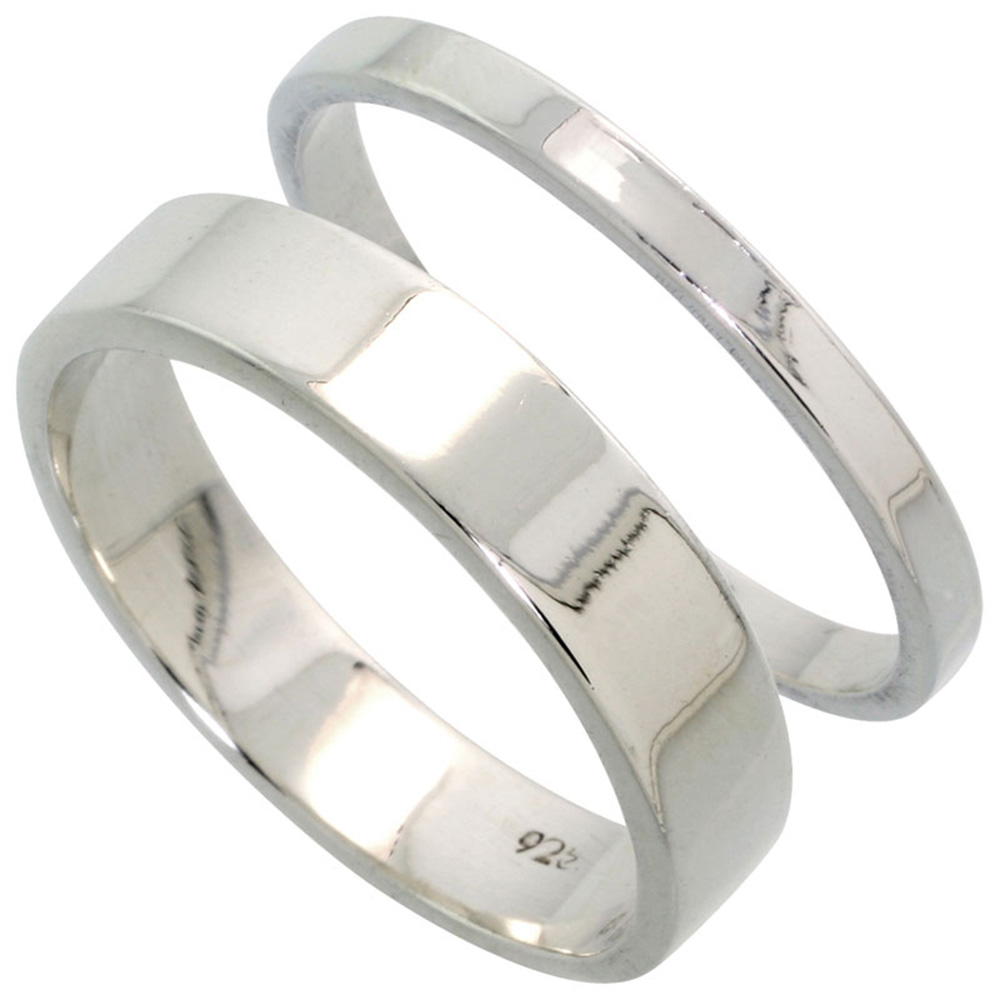 Sabrina Silver Sterling Silver Flat Wedding Band Ring Set his and Hers 2 mm sizes 4 - 9.5 + 5 mm-sizes 4 - 13.5 at Sears.com