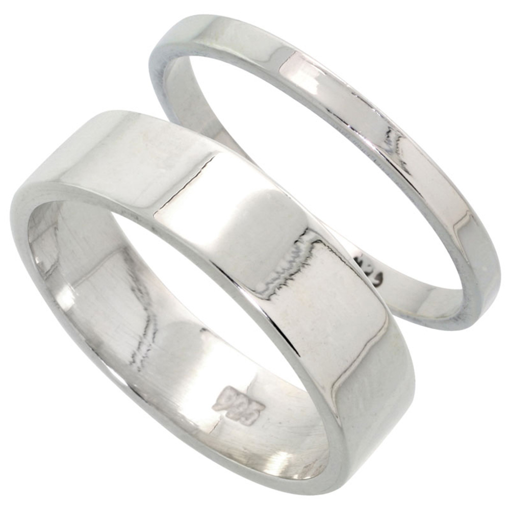 Sabrina Silver Sterling Silver Flat Wedding Band Ring Set his and Hers 2 mm sizes 4 - 9.5 + 6 mm-sizes 4 - 13.5 at Sears.com