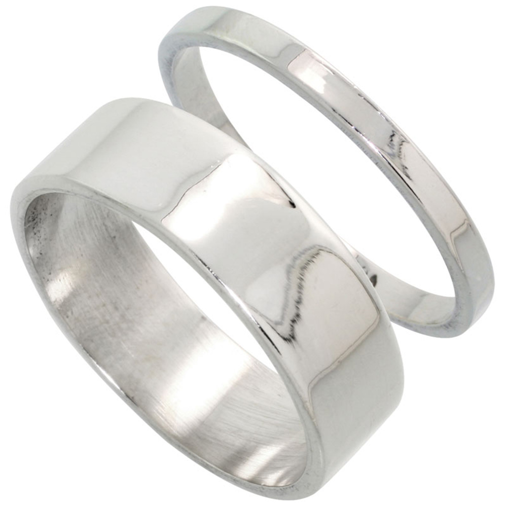 Sabrina Silver Sterling Silver Flat Wedding Band Ring Set his and Hers 2 mm sizes 4 - 9.5 + 7 mm-sizes 4 - 13.5 at Sears.com