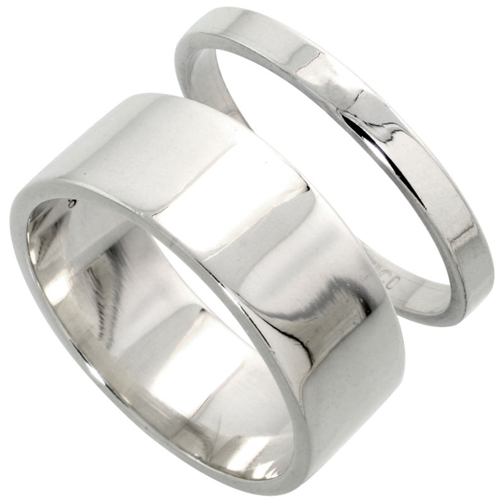 Sabrina Silver Sterling Silver Flat Wedding Band Ring Set His and Hers 3 mm + 8 mm sizes 4 to 13.5 at Sears.com
