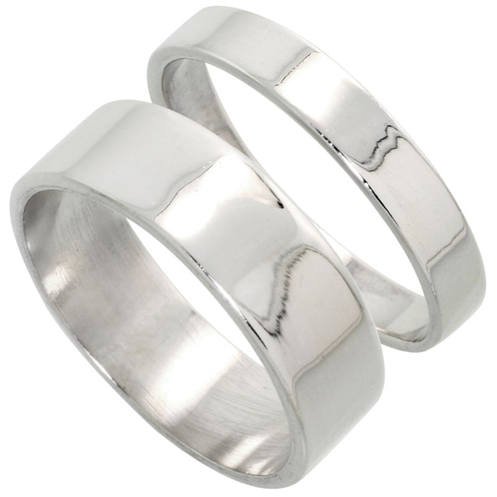 Sabrina Silver Sterling Silver Flat Wedding Band Ring Set His and Hers 4 mm + 7 mm sizes 4 to 13.5 at Sears.com