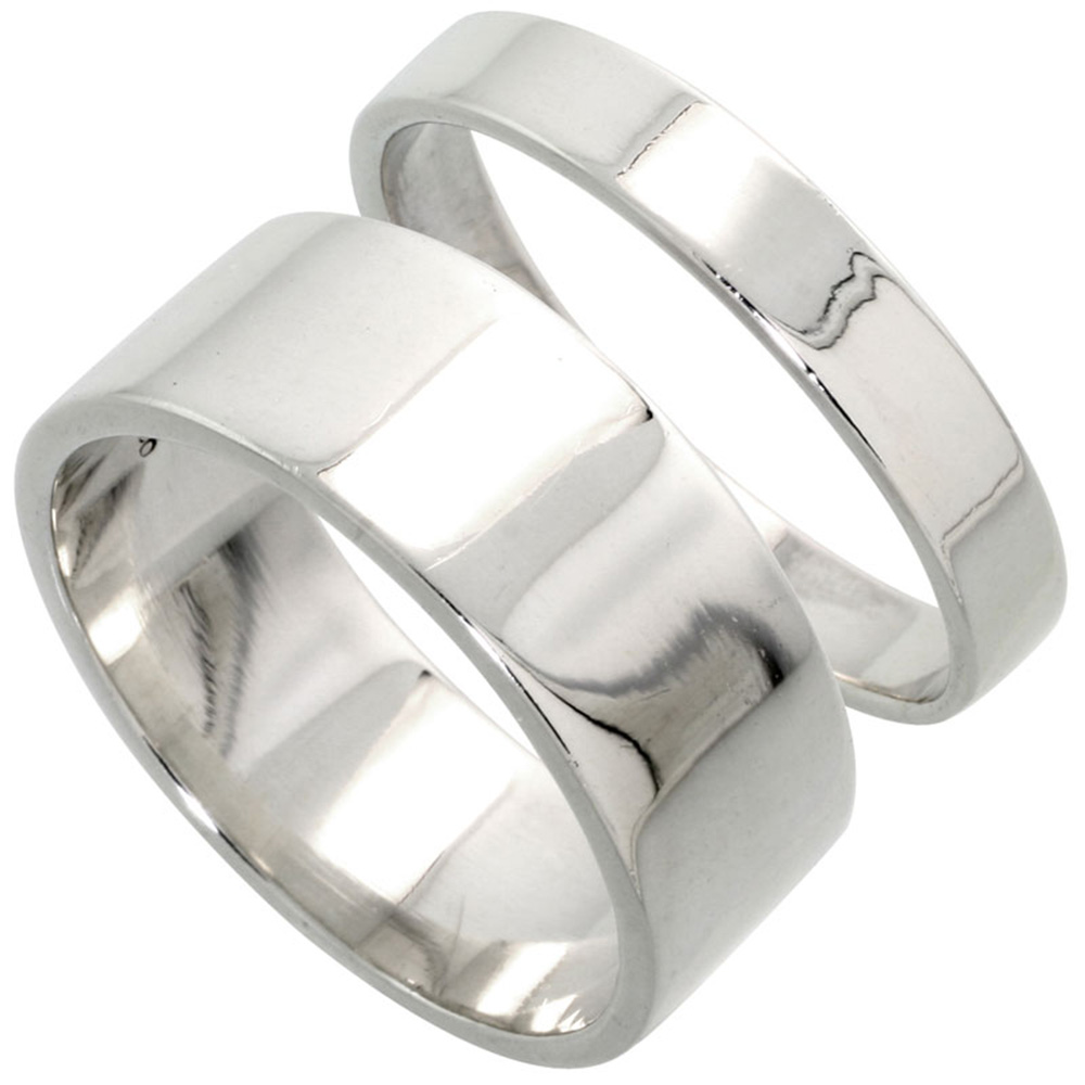 Sabrina Silver Sterling Silver Flat Wedding Band Ring Set His and Hers 4 mm + 8 mm sizes 4 to 13.5 at Sears.com