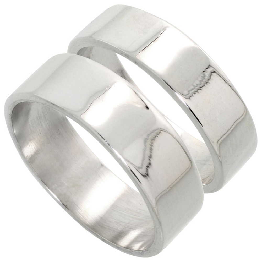 Sabrina Silver Sterling Silver Flat Wedding Band Ring Set His and Hers 6 mm + 7 mm sizes 4 to 13.5+B1137 at Sears.com