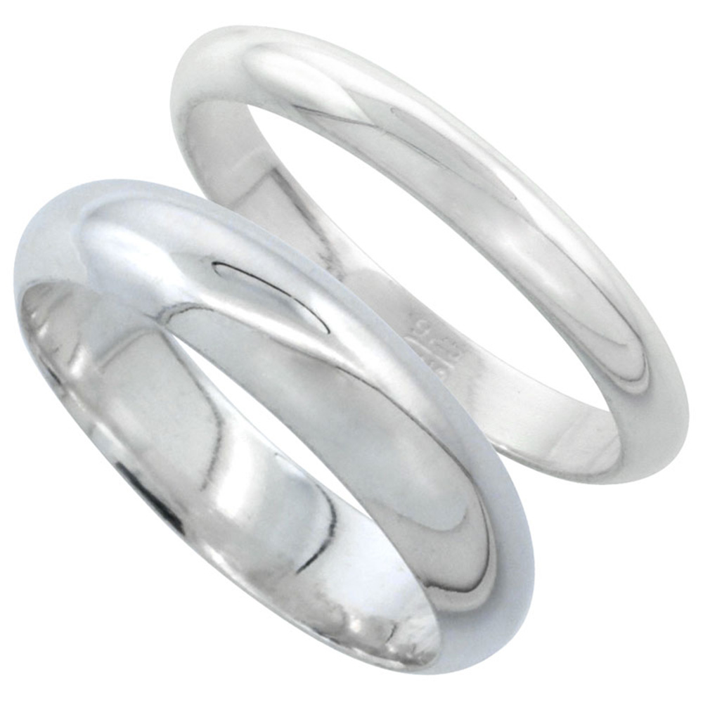 Sabrina Silver Sterling Silver High Dome Wedding Band Ring Set His and Hers 3 mm + 5 mm sizes 4 to 13.5 at Sears.com