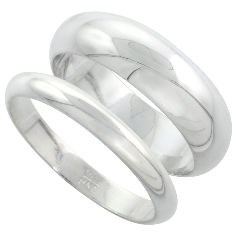 Sabrina Silver Sterling Silver High Dome Wedding Band Ring Set His and Hers 3 mm + 7 mm sizes 4 to 13.5 at Sears.com