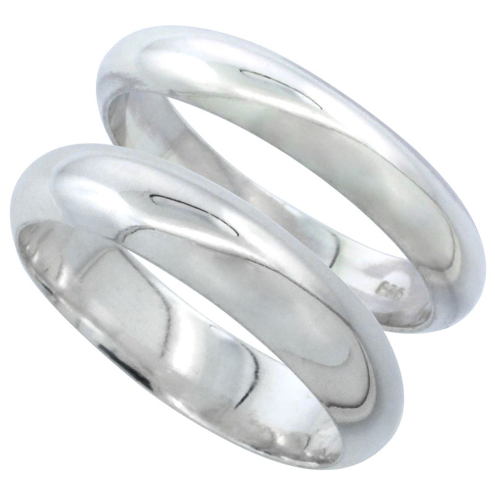 Sabrina Silver Sterling Silver High Dome Wedding Band Ring Set His and Hers 4 mm + 5 mm sizes 4 to 13.5 at Sears.com