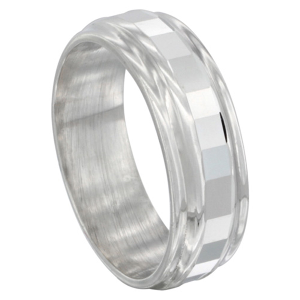 Sabrina Silver Sterling Silver Wedding Band 7mm Faceted Center with 2 Grooves
