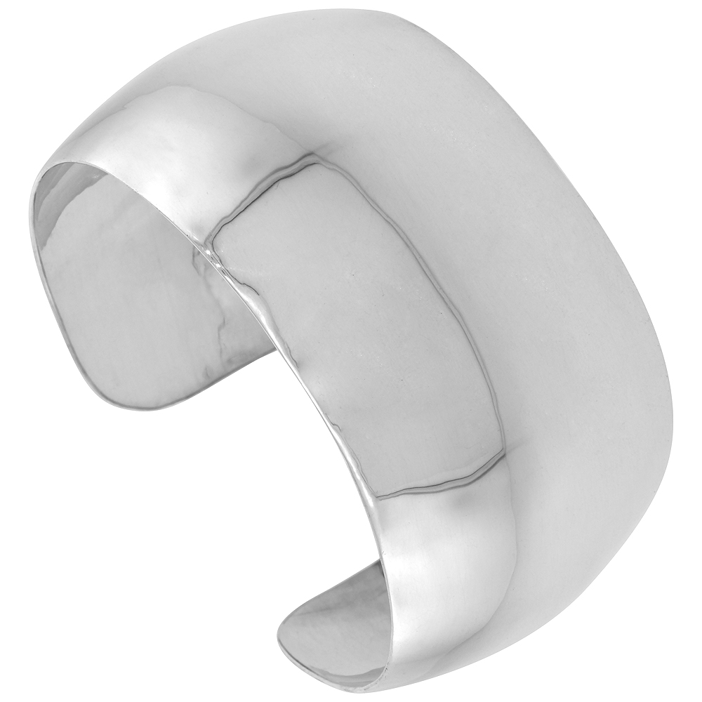 Sterling Silver Wide Cuff Bracelet Plain Domed 1 1/4 inch wide Polished Handmade for women
