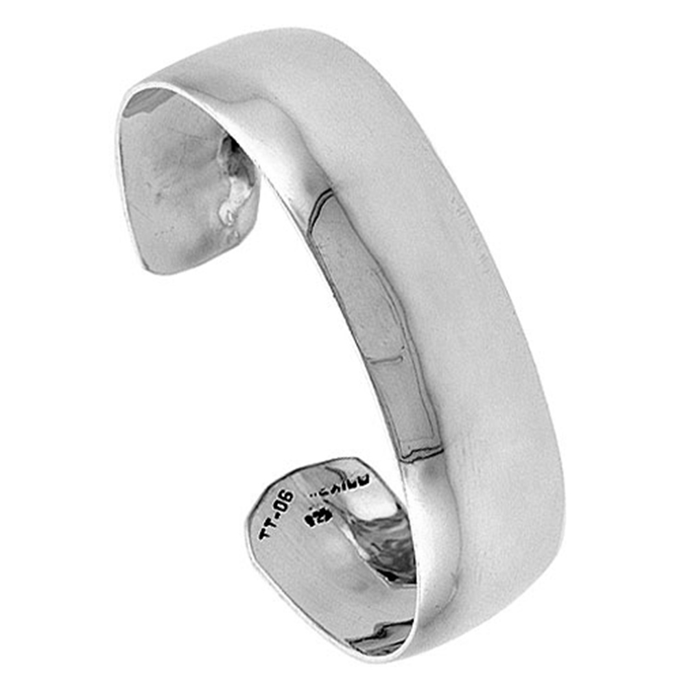 Sterling Silver Cuff Bracelet Plain Domed 3/4 inch wide Polished Handmade for women