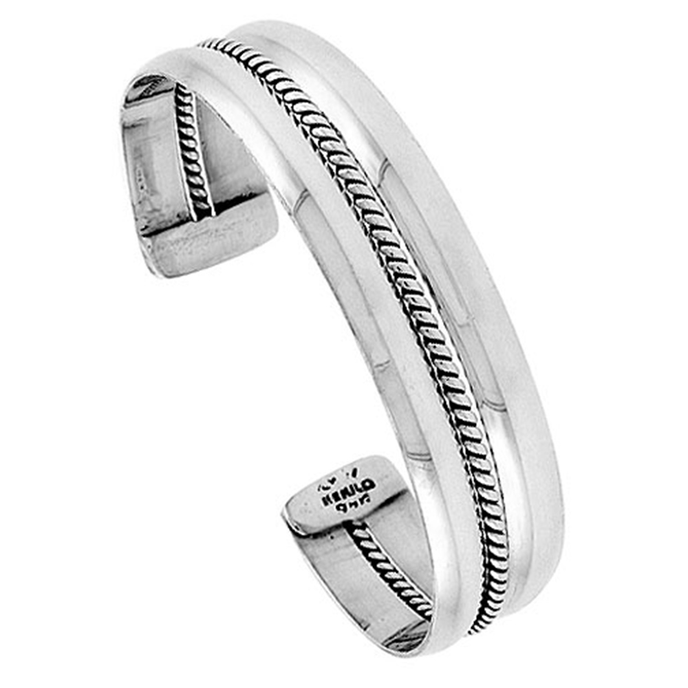 Sterling Silver Cuff Bracelet Double Domed with Rope Center Handmade 7.25 inch
