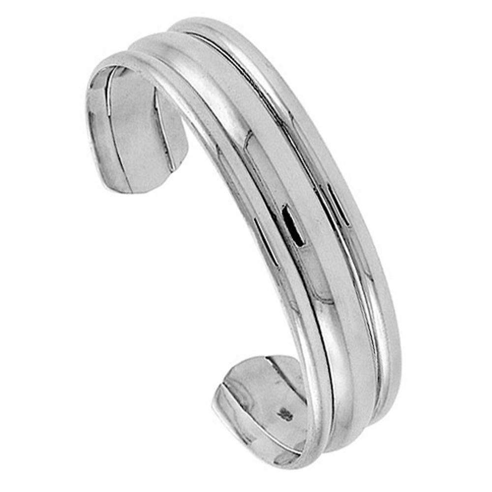 Sterling Silver Cuff Bracelet Triple Domed Handmade 7.25 inch