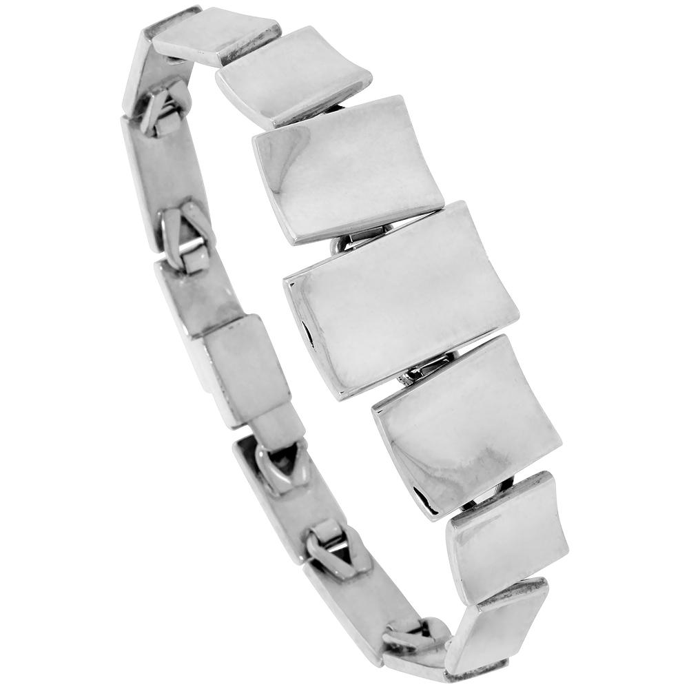 Sterling Silver Concaved Linked Bar Bracelet 3/4 inch Wide
