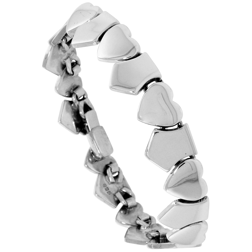 Sterling Silver Hearts and Shields Bracelet 7 inch