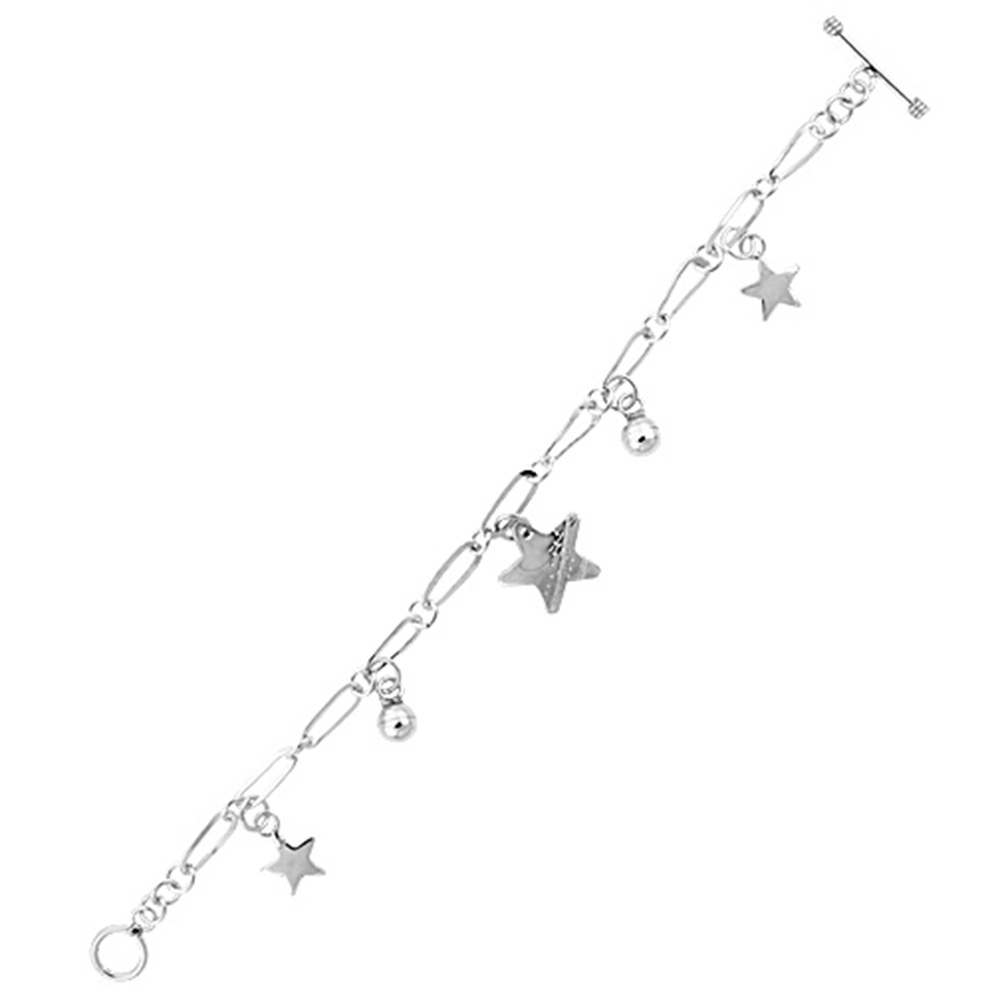 Sterling Silver Dangling Ball & Star Toggle Charm Bracelet, 7.5 inches long
