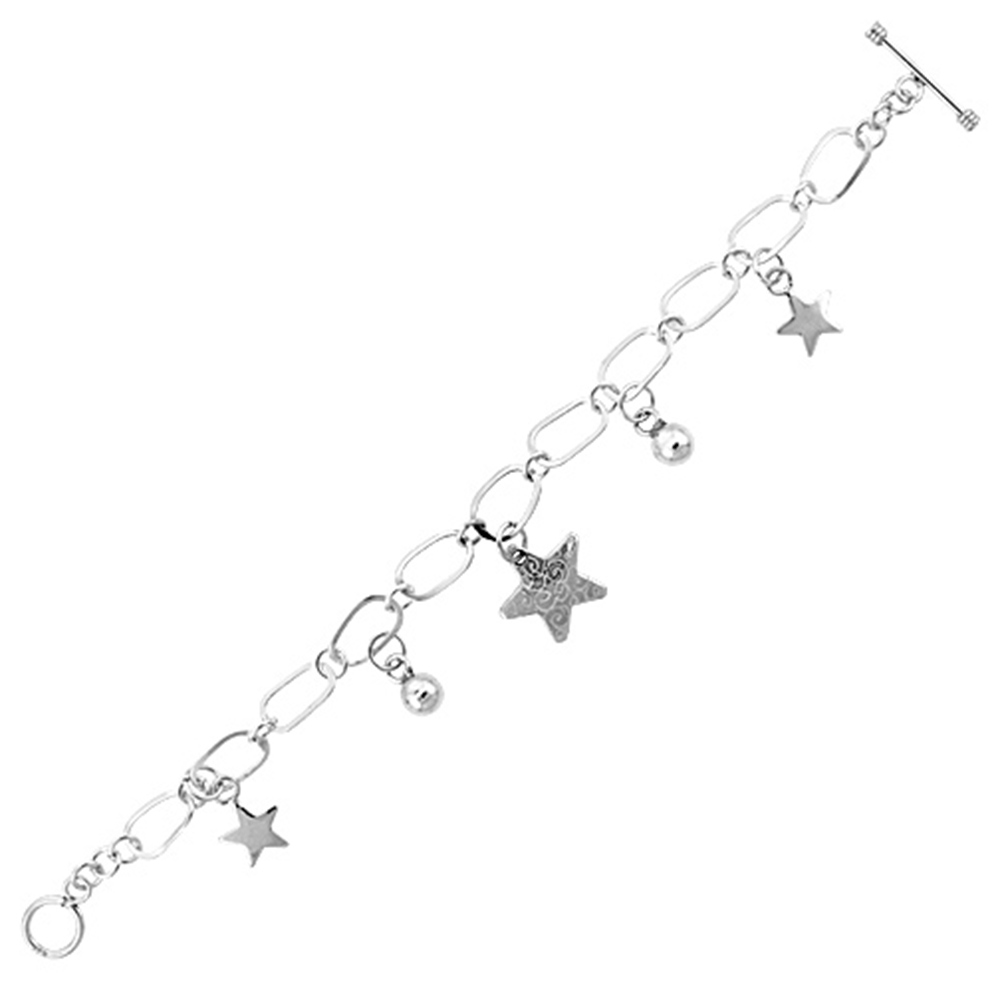 Sterling Silver Dangling Carved Star Center & Ball Link Toggle Charm Bracelet, 7.5 inches long