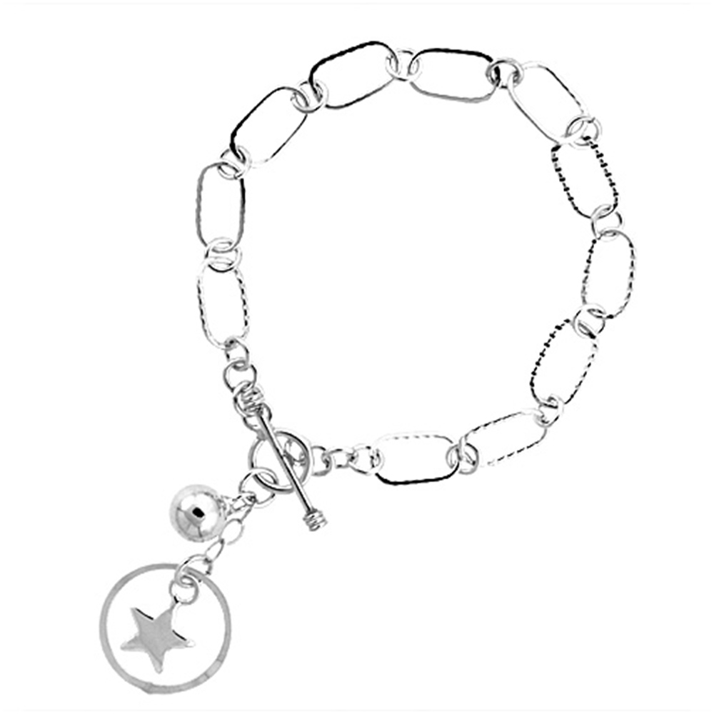 Sterling Silver Pentagram & Ball Link Toggle Charm Bracelet, 7.5 inches long
