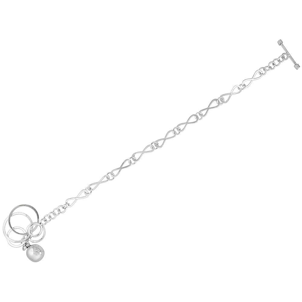 Sterling Silver Ball & Circles Eternity Link Toggle Charm Bracelet, 7.5 inches long