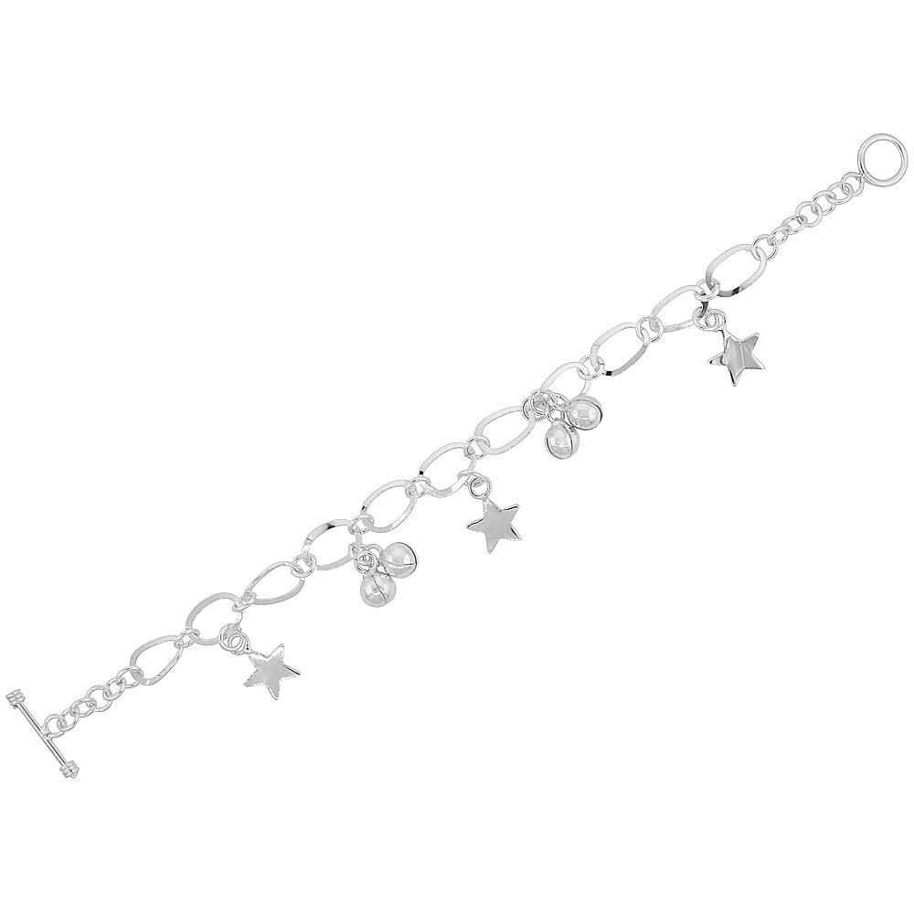 Sterling Silver Chime Ball & Star Link Toggle Charm Bracelet, 7.5 inches long