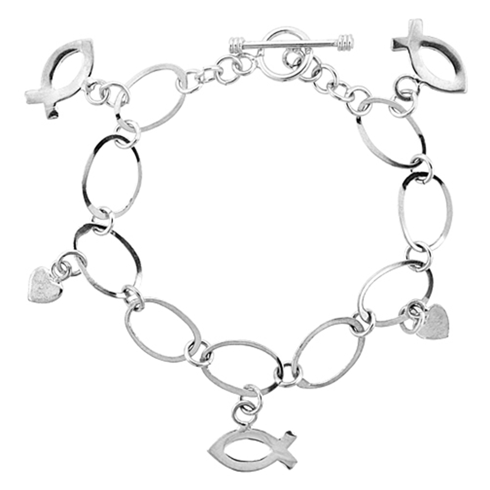 Sterling Silver Peace Sign & Ball Link Toggle Charm Bracelet, 7.5 inches long