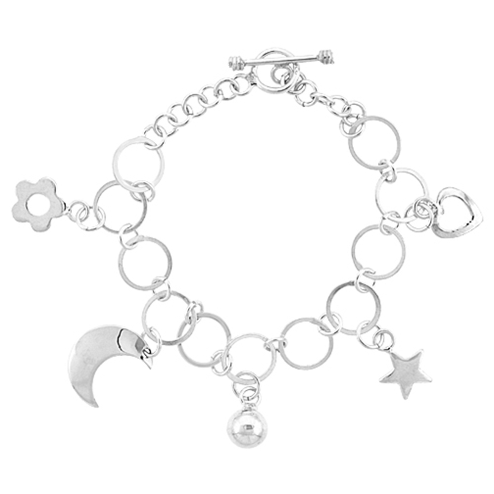 Sterling Silver Dangling Crescent moon, Star, Heart, Flower & Ball Round Link Toggle Charm Bracelet, 7 inches long