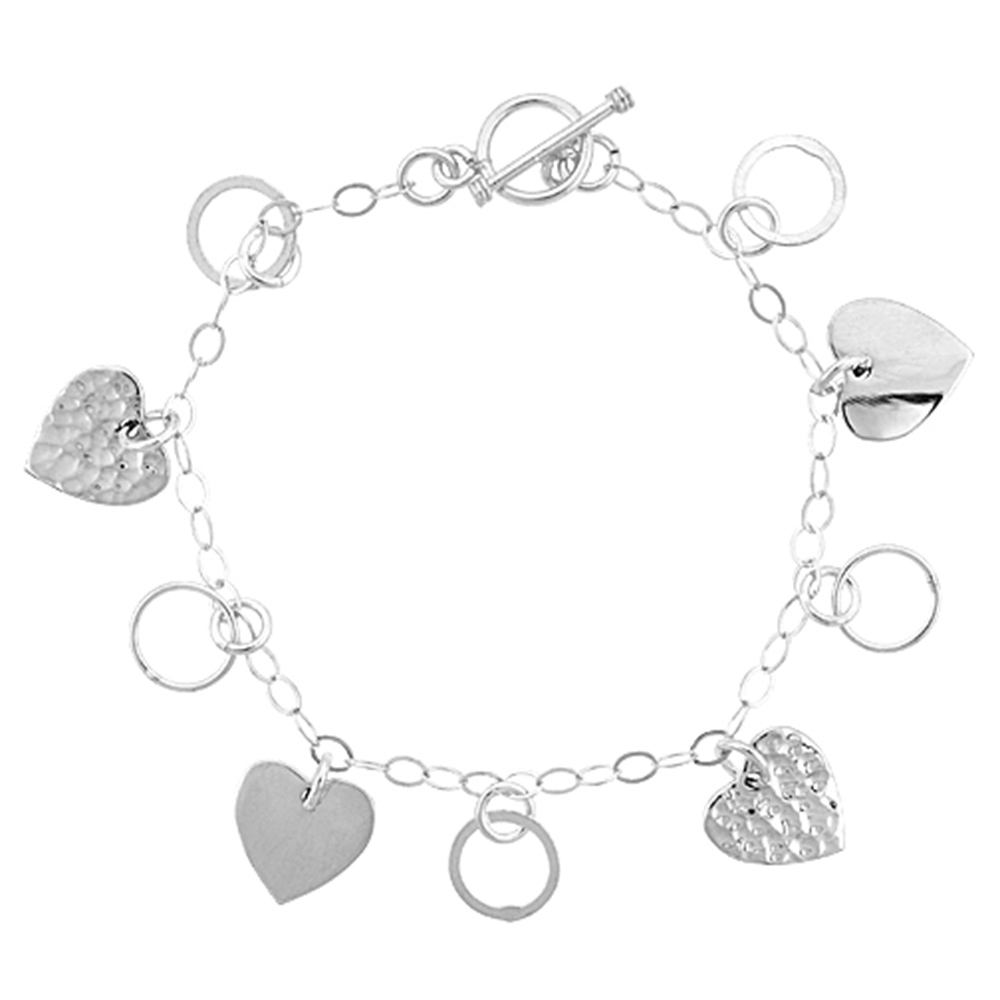 Sterling Silver Dangling Heart & Circle Link Toggle Charm Bracelet, 7.5 inches long