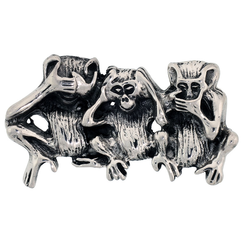 Sterling Silver Three Wise Monkeys Brooch Pin, 1 3/4 inch (46 mm) wide