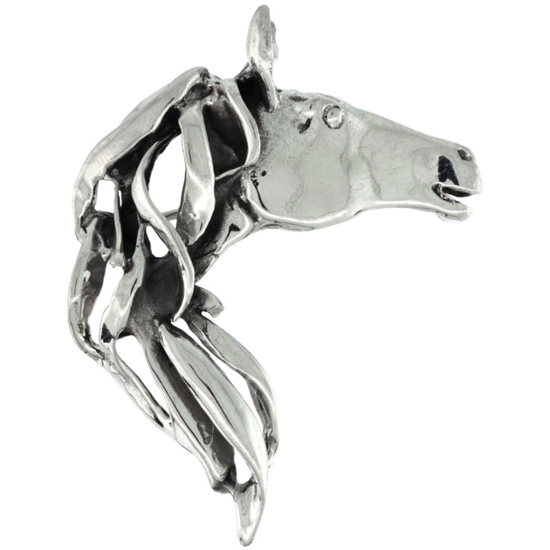 Sterling Silver Horse Head Brooch Pin, 1 11/16 (42.5 mm) wide""