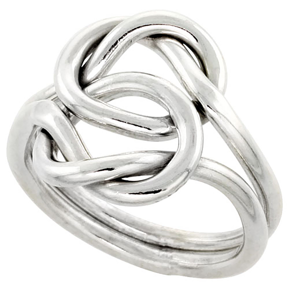 Sterling Silver Love Knot Wire Wrap Ring Handmade 5/8 inch wide