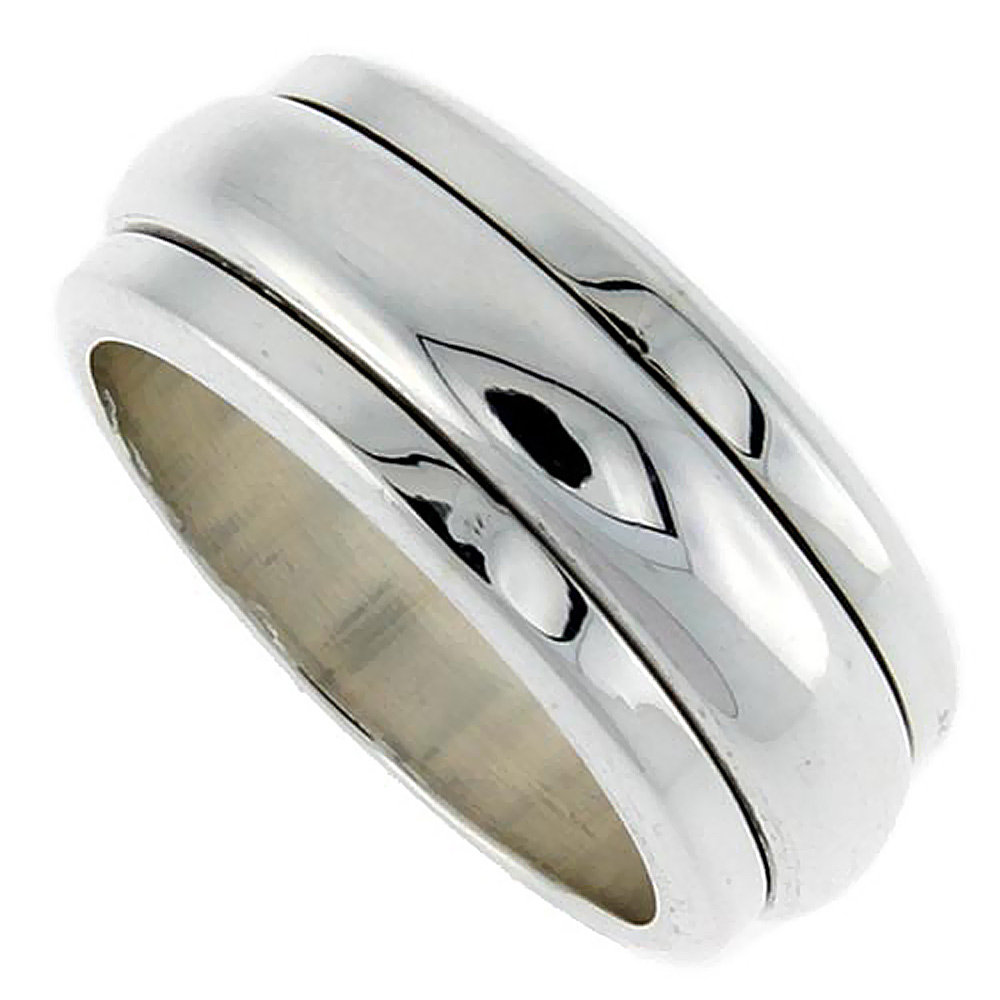 Sterling Silver Mens Spinner Ring Narrow Domed Handmade 3/8 inch wide,