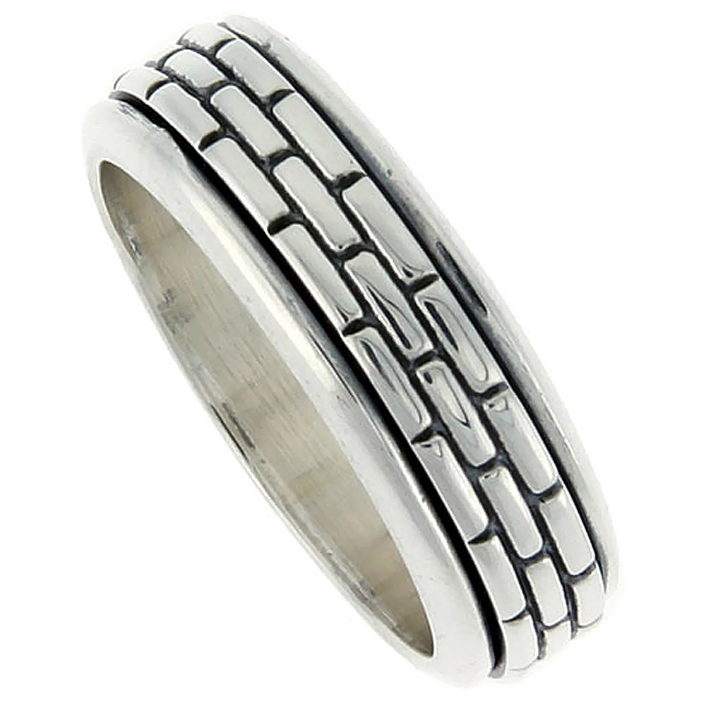 Sterling Silver Mens Spinner Ring Brick Pattern Center Handmade 5/16 wide,