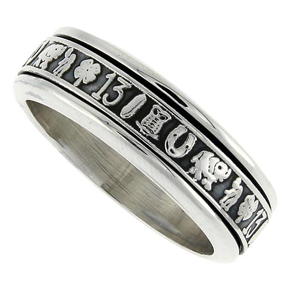 Sterling Silver Mens Spinner Ring Good Luck Charms Designs Handmade 5/16 wide,