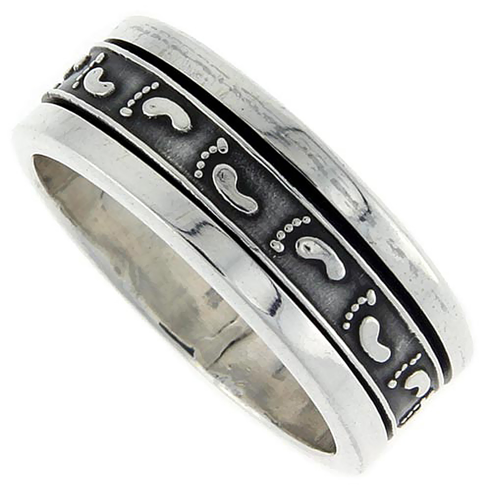 Sterling Silver Mens Spinner Ring Footprints Pattern Embossed Handmade 3/8 inch wide,