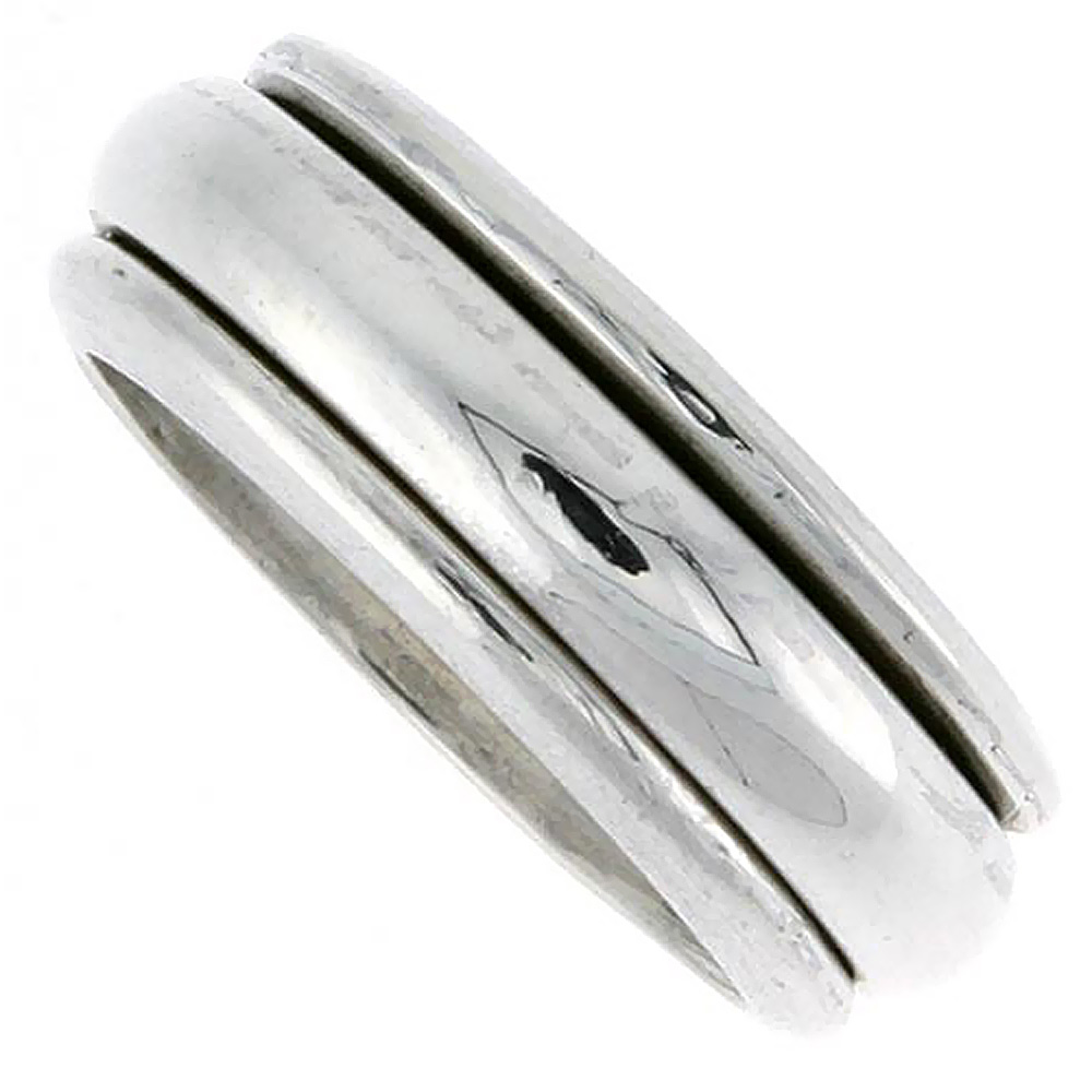Sterling Silver Mens Spinner Ring Domed Design Handmade 5/16 wide,