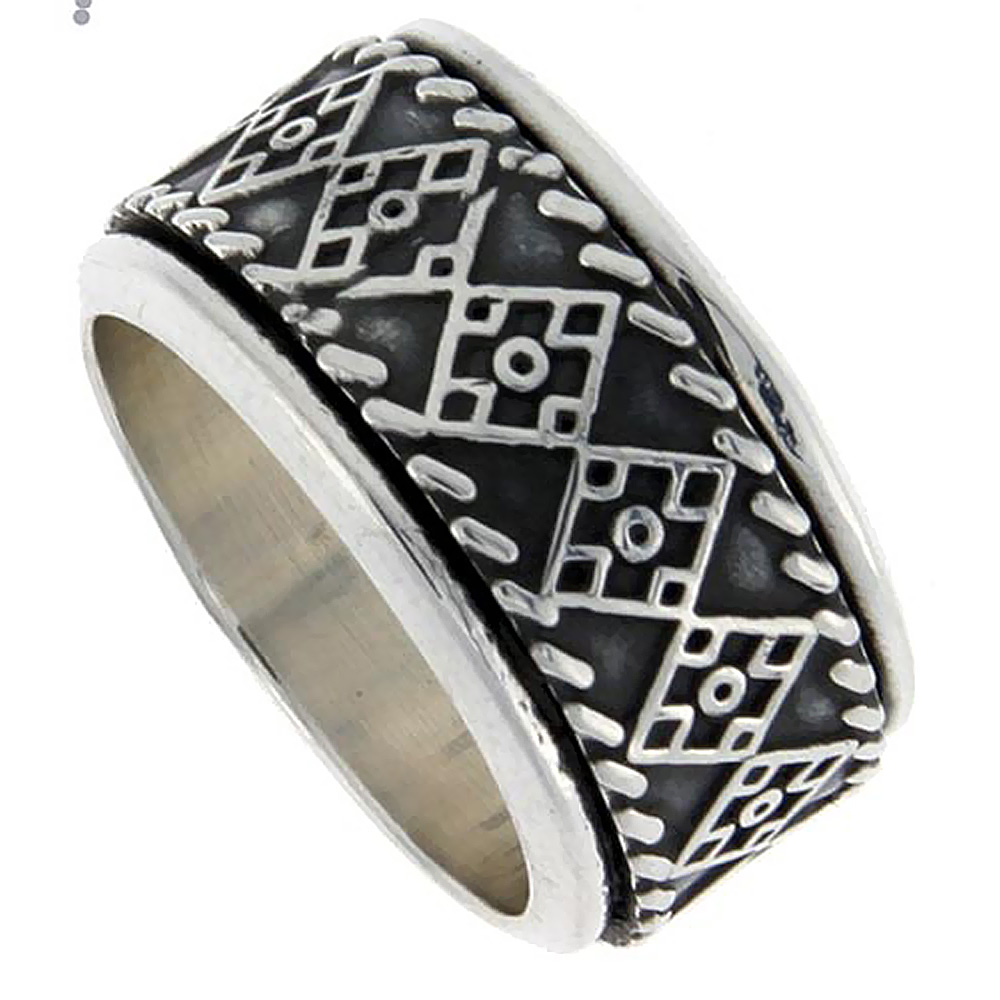 Sterling Silver Mens Spinner Ring Quilt Design Handmade 1/2 inch wide,
