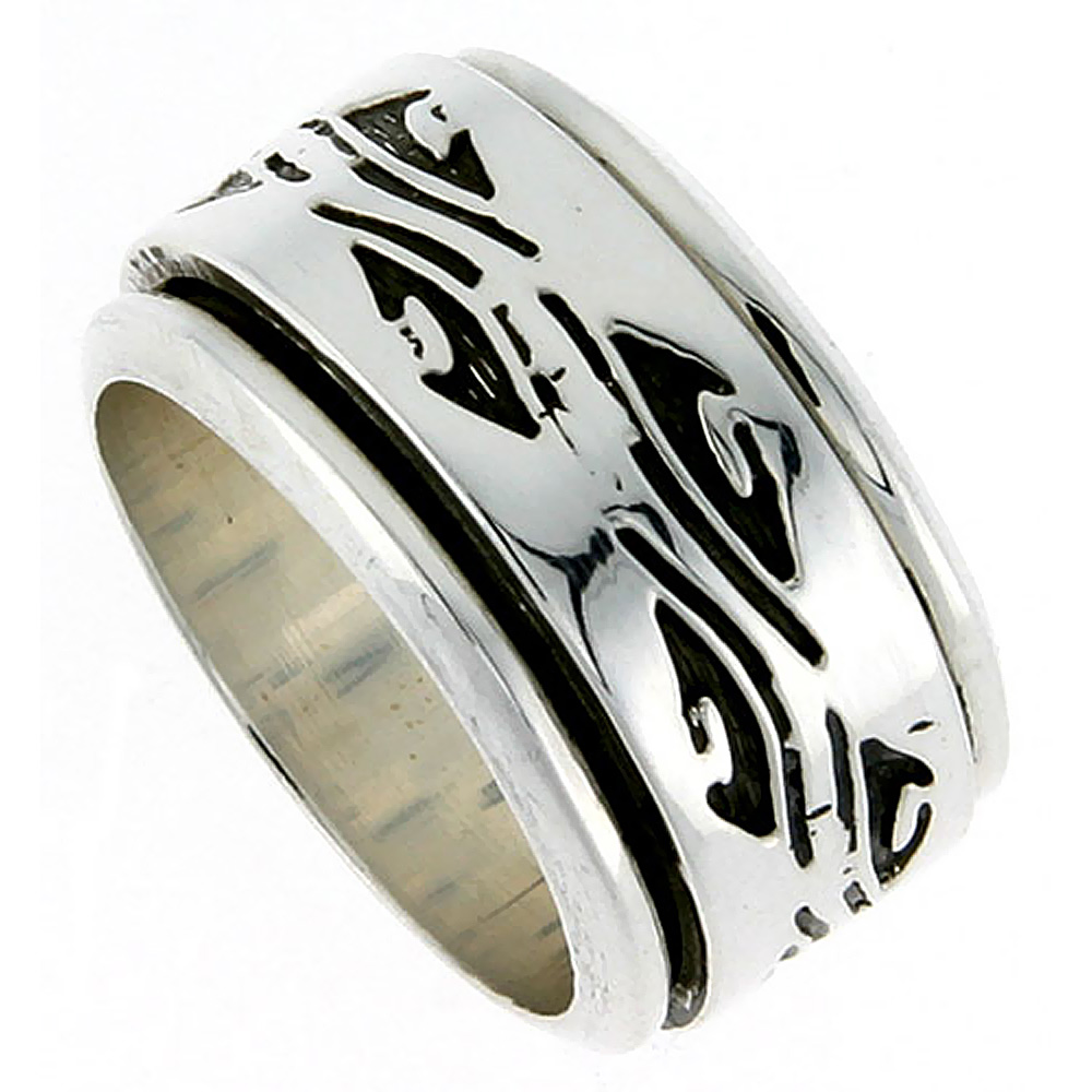 Sterling Silver Mens Spinner Ring Native American Pattern Handmade 1/2 inch wide,