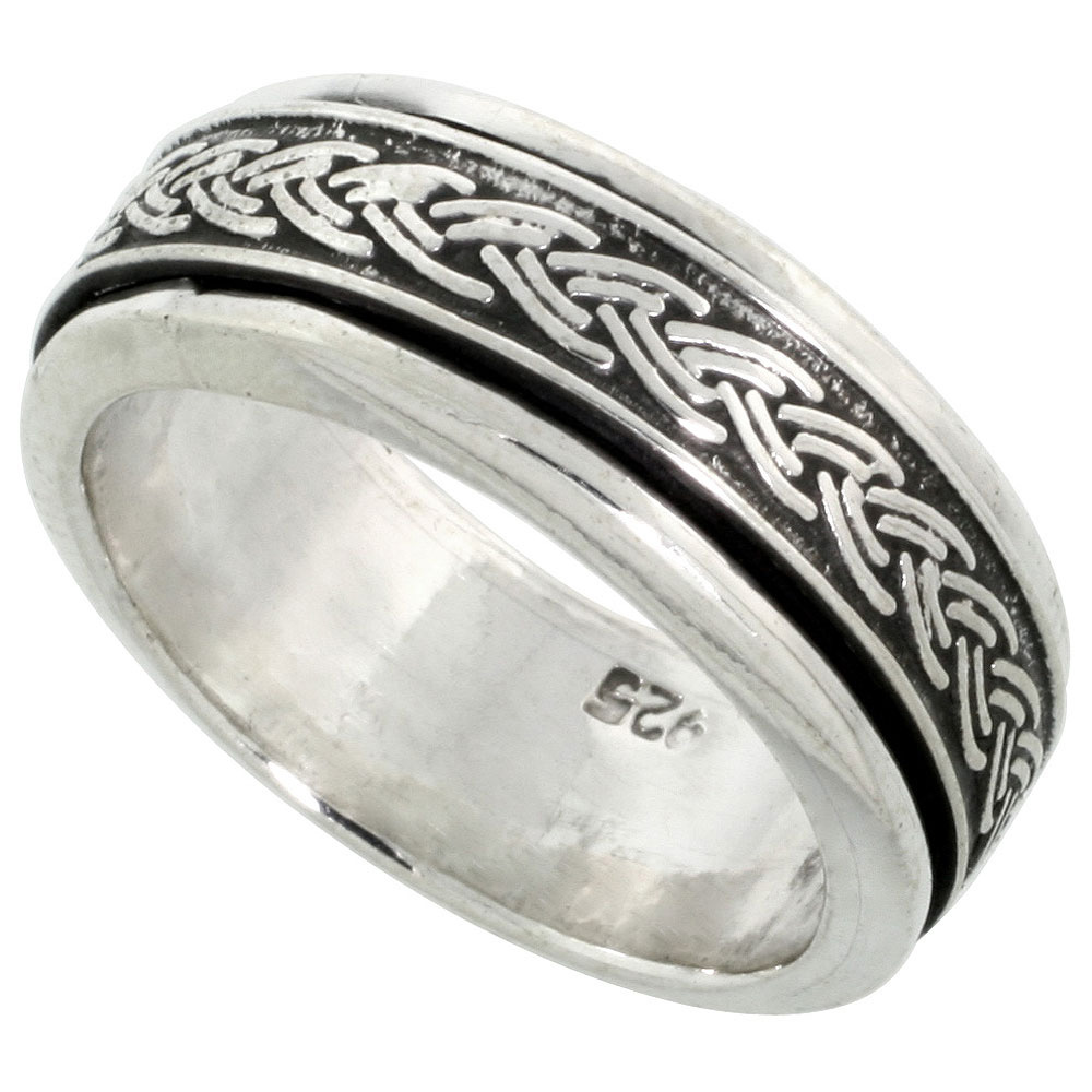 Sterling Silver Mens Spinner Ring Braided Pattern Center Handmade 5/16 wide,