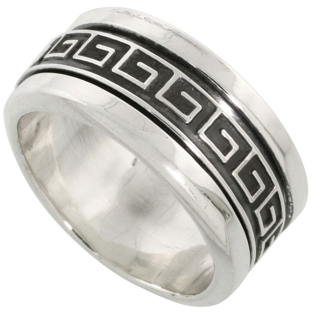 Sterling Silver Mens Spinner Ring Greek Key Pattern Center Handmade 3/8 inch wide,