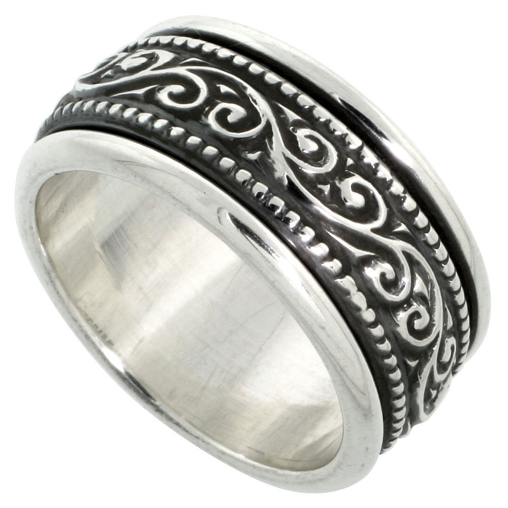 Sterling Silver Mens Spinner Ring Floral Vine Pattern Center Handmade 3/8 inch wide,